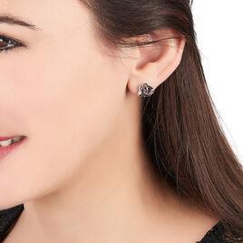 Boucles D'oreilles Puces Melina Argent Blanc Oxyde De Zirconium - Boucles d'oreilles fantaisie Femme | Histoire d'Or