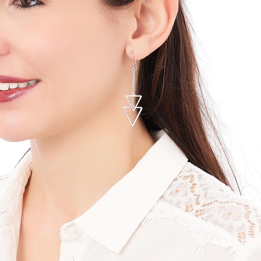 Boucles D'oreilles Pendantes Chayann Argent Blanc - Boucles d'oreilles fantaisie Femme   Histoire d'Or