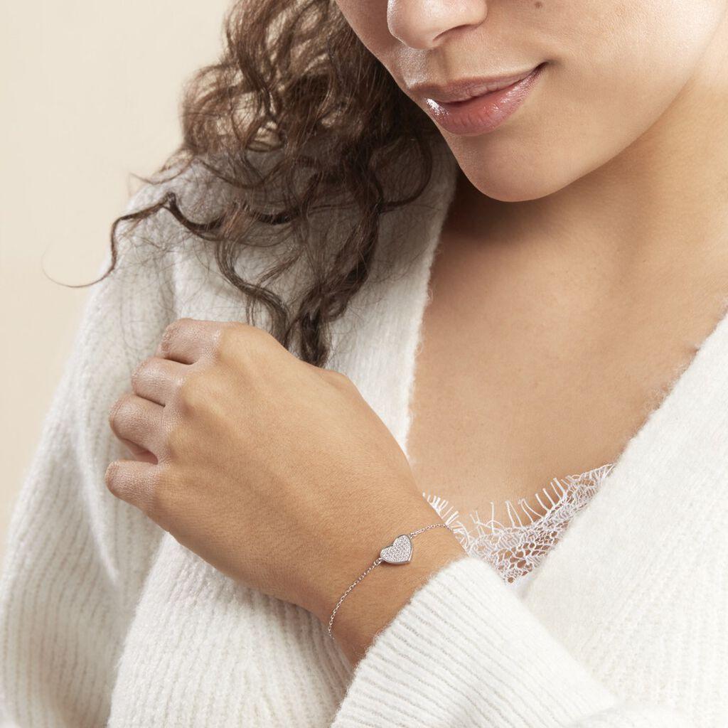 Bracelet Mea Argent Blanc Oxyde De Zirconium - Bracelets Coeur Femme   Histoire d'Or