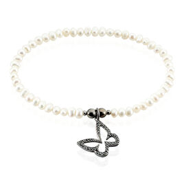 Bracelet Diariata Argent Noir Perle De Culture Et Oxyde De Zirconium - Bracelets Papillon Femme   Histoire d'Or