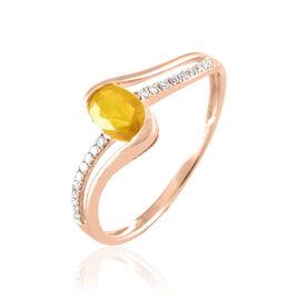 Bague Anja Or Rose Citrine Et Diamant - Bagues avec pierre Femme   Histoire d'Or