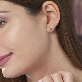 Boucles D'oreilles Plaque Or Coeur Oxyde - Boucles d'Oreilles Coeur Femme | Histoire d'Or