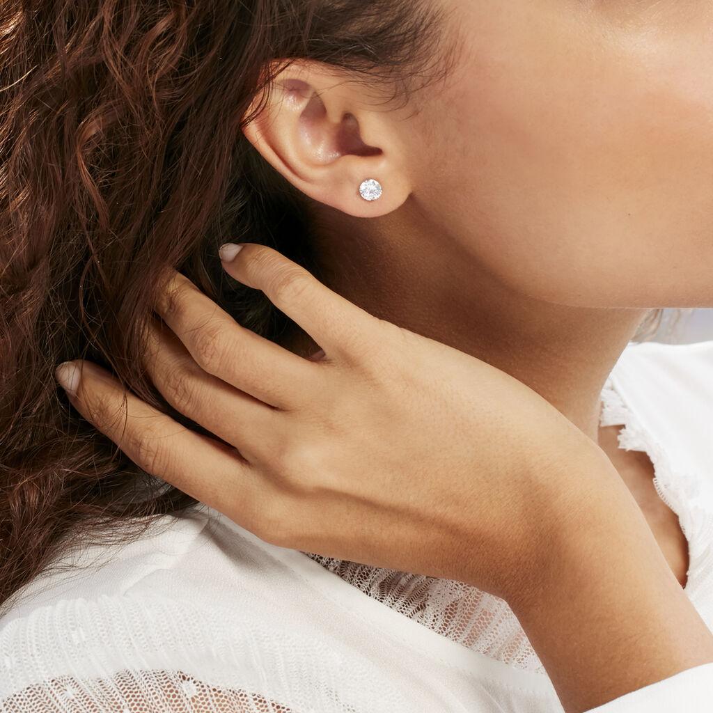 Boucles D'oreilles Puces Philia Argent Blanc Oxyde De Zirconium - Boucles d'oreilles fantaisie Femme   Histoire d'Or