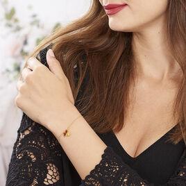 Bracelet Argent Dore Pampilles Ginkgo Ambre - Bracelets fantaisie Femme | Histoire d'Or