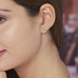 Boucles D'oreilles Puces Dilay Argent Blanc Oxyde De Zirconium - Boucles d'oreilles fantaisie Femme   Histoire d'Or