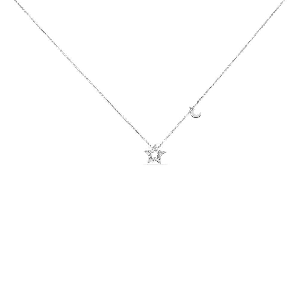 Collier Dalie Or Blanc Diamant - Colliers Etoile Femme | Histoire d'Or