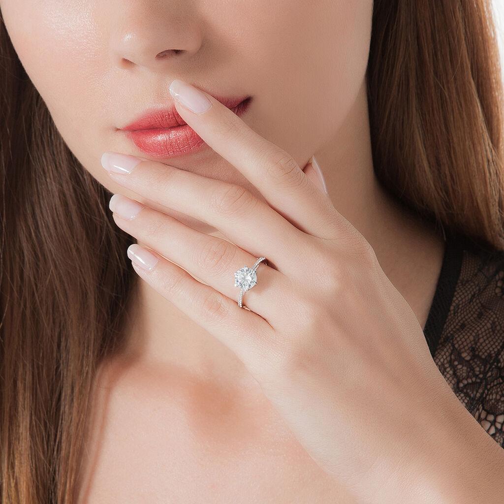 Bague Solitaire Ritage Or Blanc Oxyde De Zirconium - Bagues solitaires Femme | Histoire d'Or
