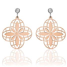 Boucles D'oreilles Pendantes Itala Argent Bicolore - Boucles d'Oreilles Croix Femme | Histoire d'Or