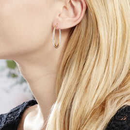 Créoles Maelia Croisees Fil Rond Or Bicolore - Boucles d'oreilles créoles Femme | Histoire d'Or