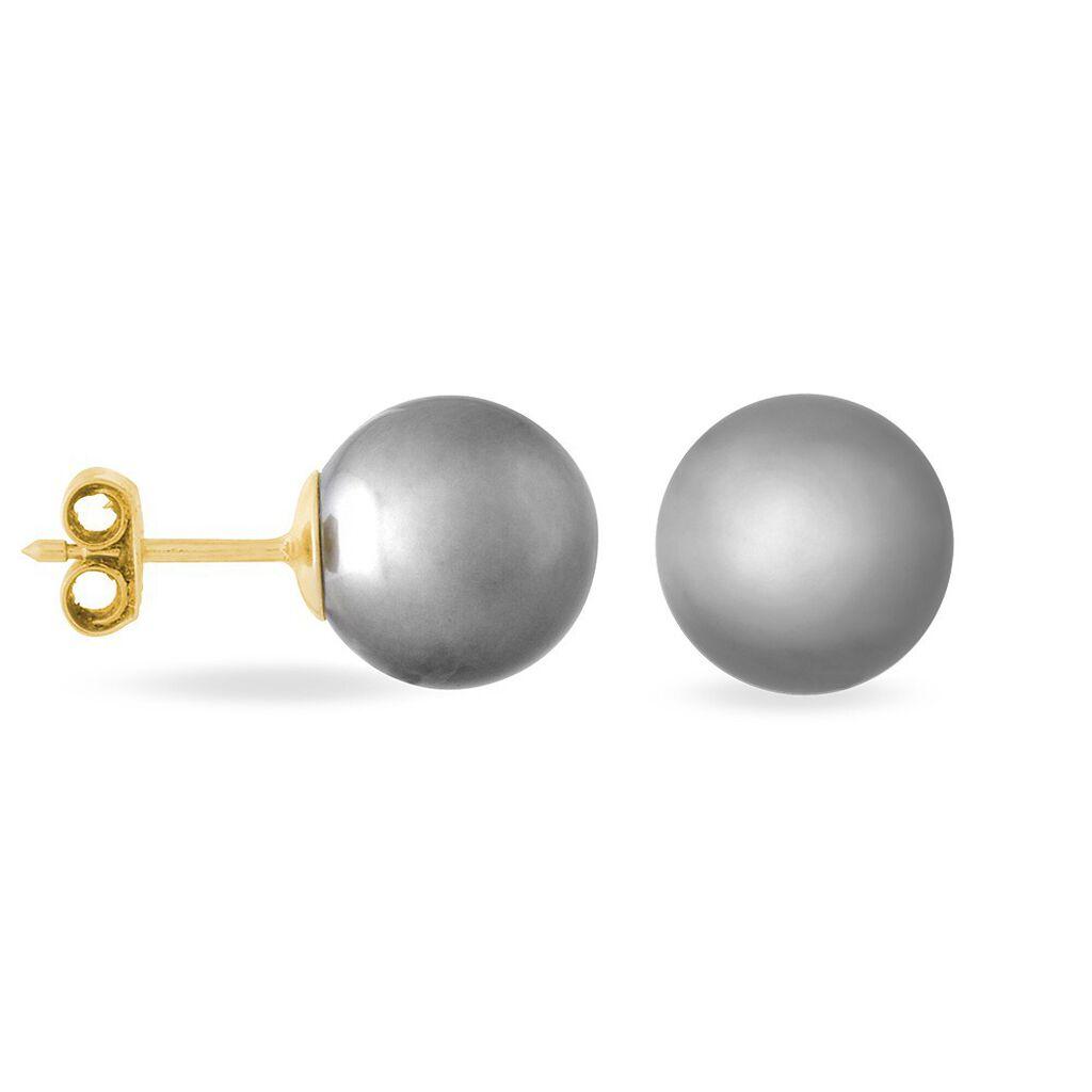Boucles D'oreilles Puces Lu-ann Or Jaune Perle De Culture De Tahiti - Clous d'oreilles Femme | Histoire d'Or