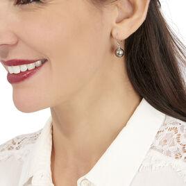 Boucles D'oreilles Pendantes Elitivae Or Blanc Perle De Tahiti - Boucles d'oreilles pendantes Femme   Histoire d'Or