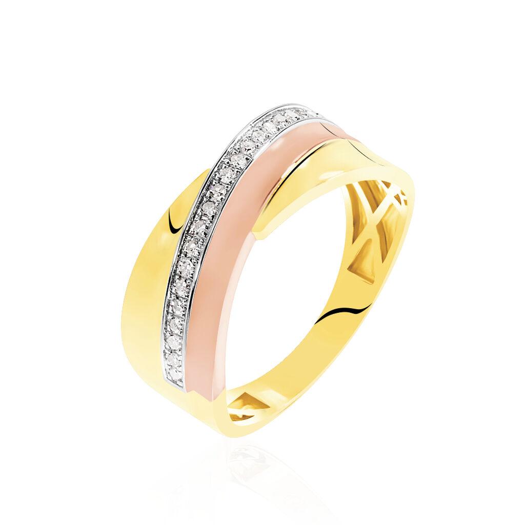Bague Rosabella Or Tricolore Diamant - Bagues avec pierre Femme   Histoire d'Or