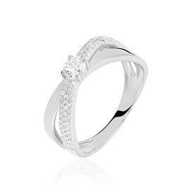 Bague Croisee Or Blanc Diamant - Bagues solitaires Femme | Histoire d'Or