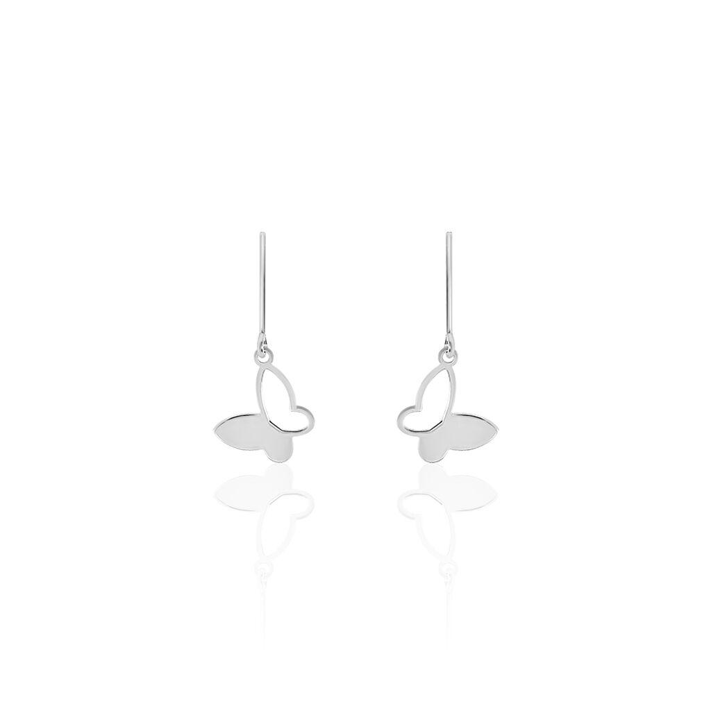 Boucles D'oreilles Pendantes Maria Argent Blanc - Boucles d'Oreilles Papillon Femme   Histoire d'Or