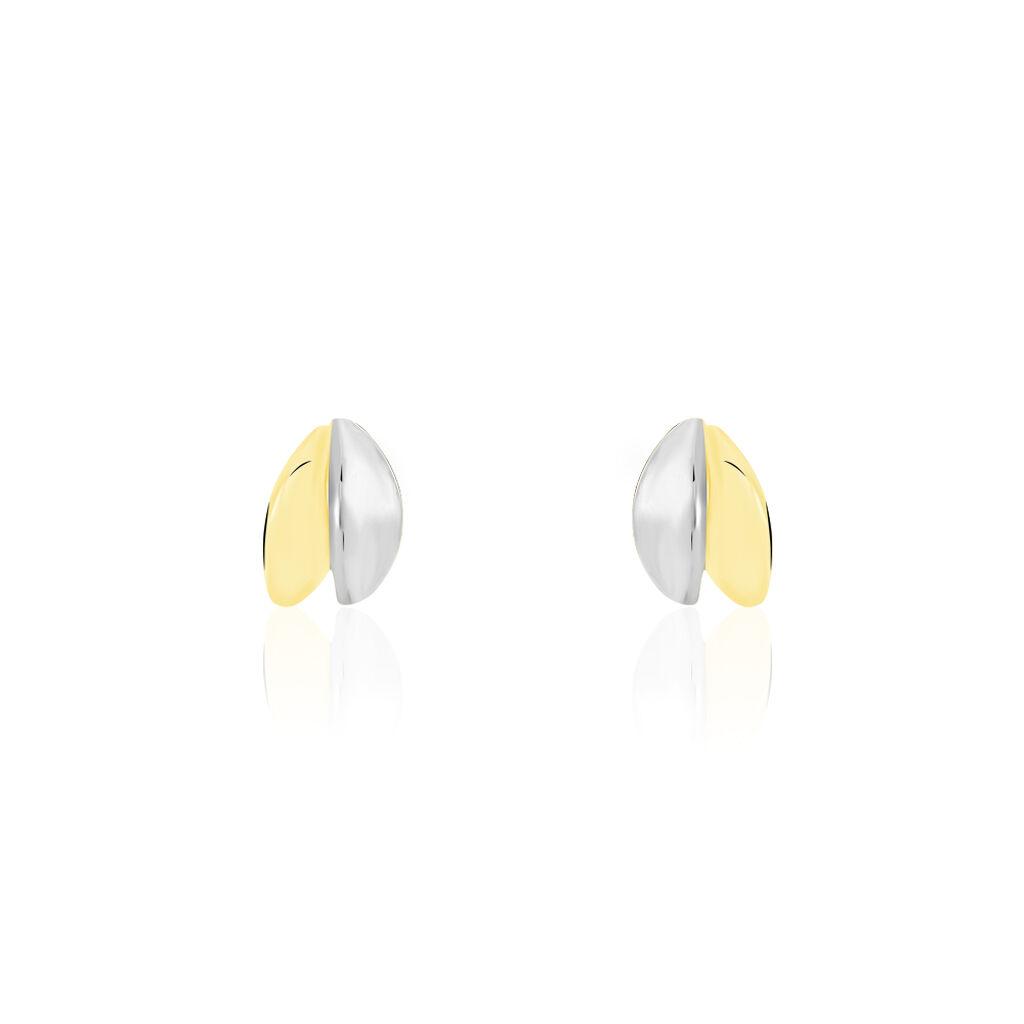 Boucles D'oreilles Puces Flauraae Or Bicolore - Clous d'oreilles Femme   Histoire d'Or