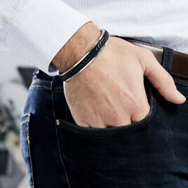 Bracelet Jonc Ahmet Acier Blanc - Bracelets fantaisie Homme   Histoire d'Or
