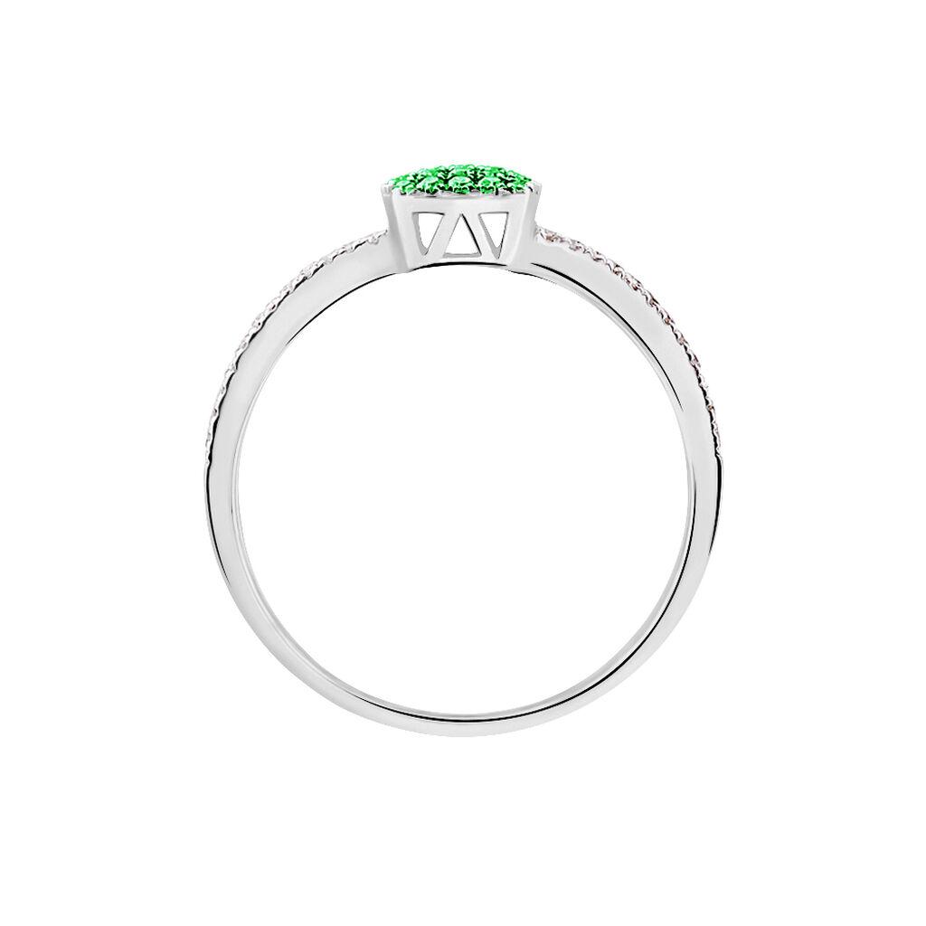 Bague Aude Or Blanc Emeraude Et Diamant - Bagues avec pierre Femme   Histoire d'Or