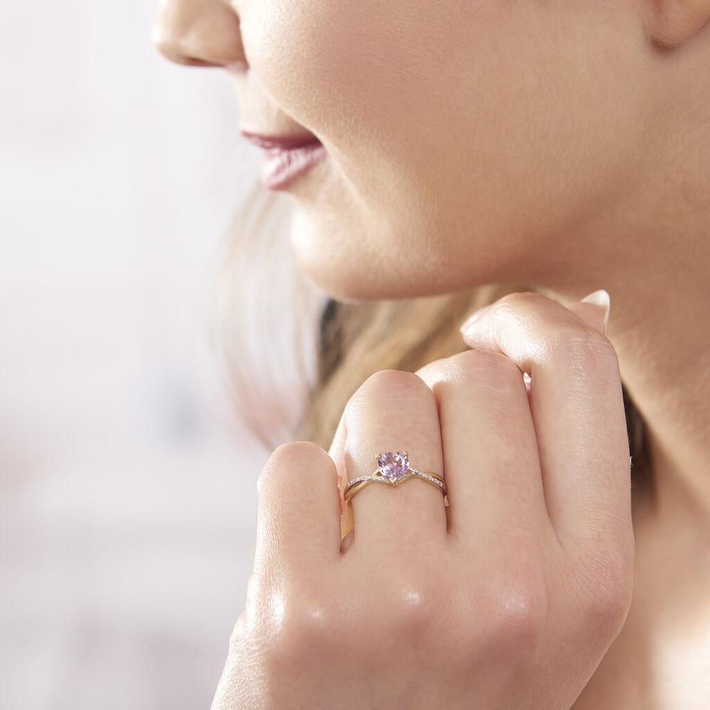 Bague Clothilde Or Jaune Amethyste Et Oxyde De Zirconium - Bagues Coeur Femme   Histoire d'Or