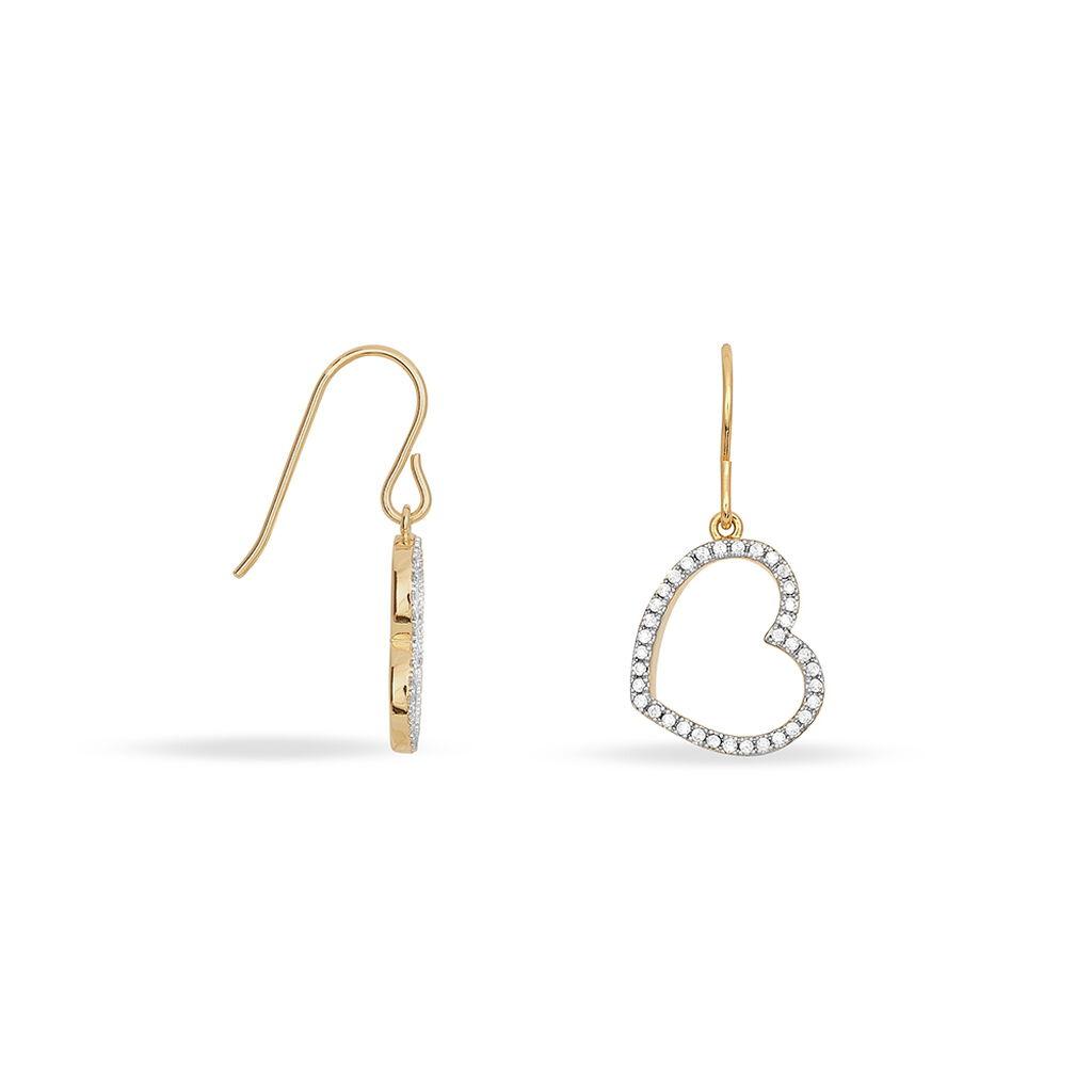 Boucles D'oreilles Puces Plaqué Or Oxyde - Boucles d'Oreilles Coeur Femme   Histoire d'Or