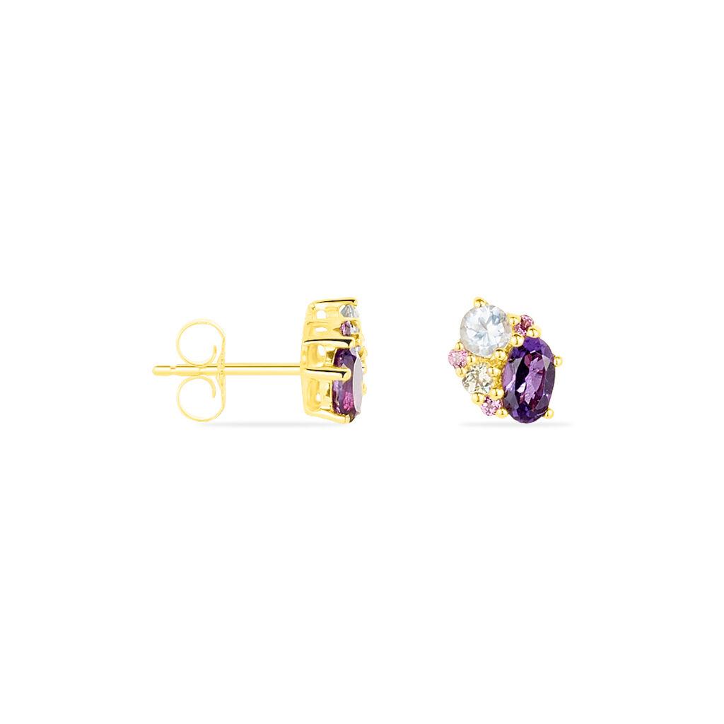 Boucles D'oreilles Pendantes Or Jaune Amethyste Et Topaze Et Péridot - Boucles d'oreilles pendantes Femme | Histoire d'Or