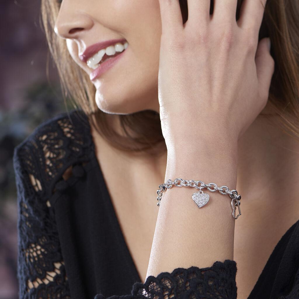 Bracelet Argent Rhodie Coeur Oxyde - Bracelets Coeur Femme | Histoire d'Or
