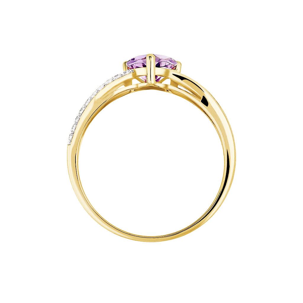 Bague Bertille Or Jaune Amethyste Et Oxyde De Zirconium - Bagues Coeur Femme   Histoire d'Or