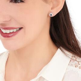 Boucles D'oreilles Puces Ivan Or Blanc Diamant Saphir - Clous d'oreilles Femme   Histoire d'Or