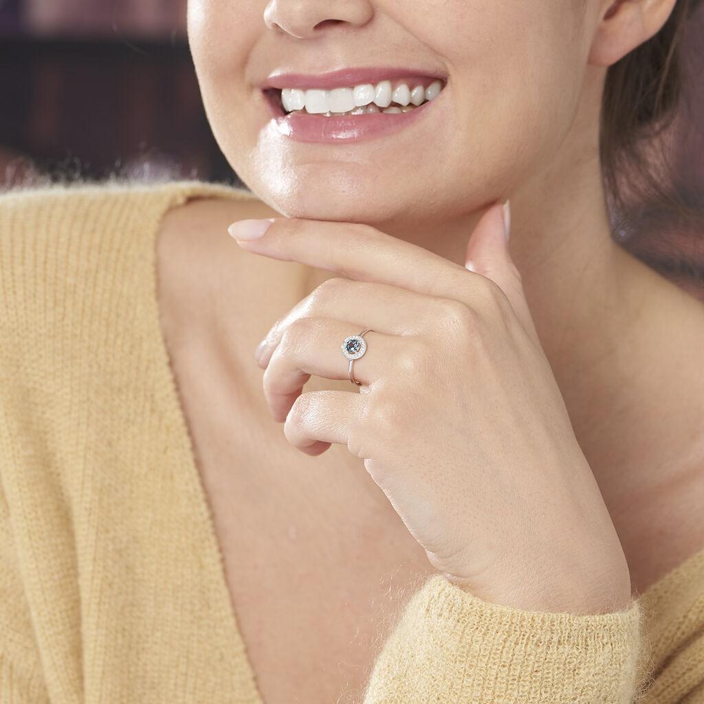 Bague Priscillya Or Blanc Topaze Et Oxyde De Zirconium - Bagues avec pierre Femme   Histoire d'Or