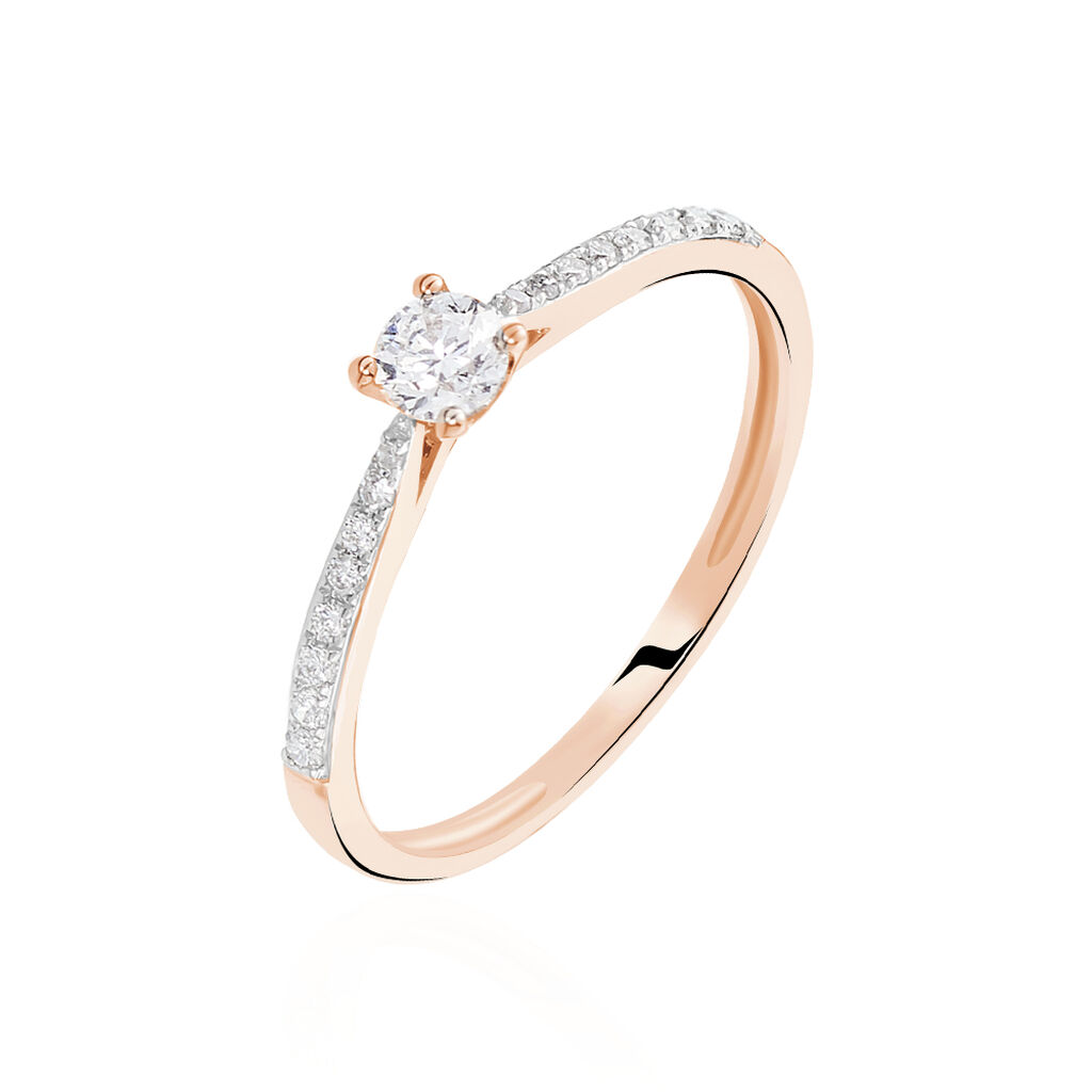 Bague Solitaire Laetitia Or Rose Diamant