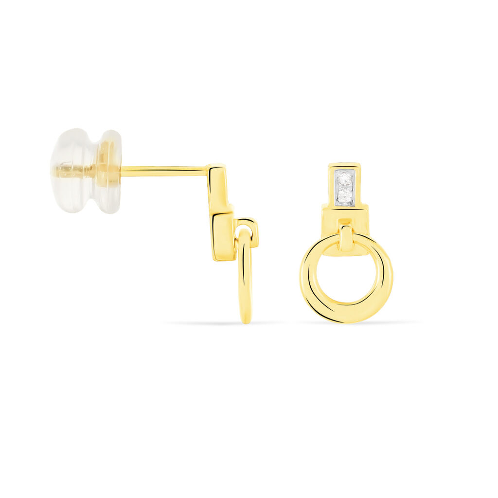 Boucles D'oreilles Puces Molly Or Jaune Diamant