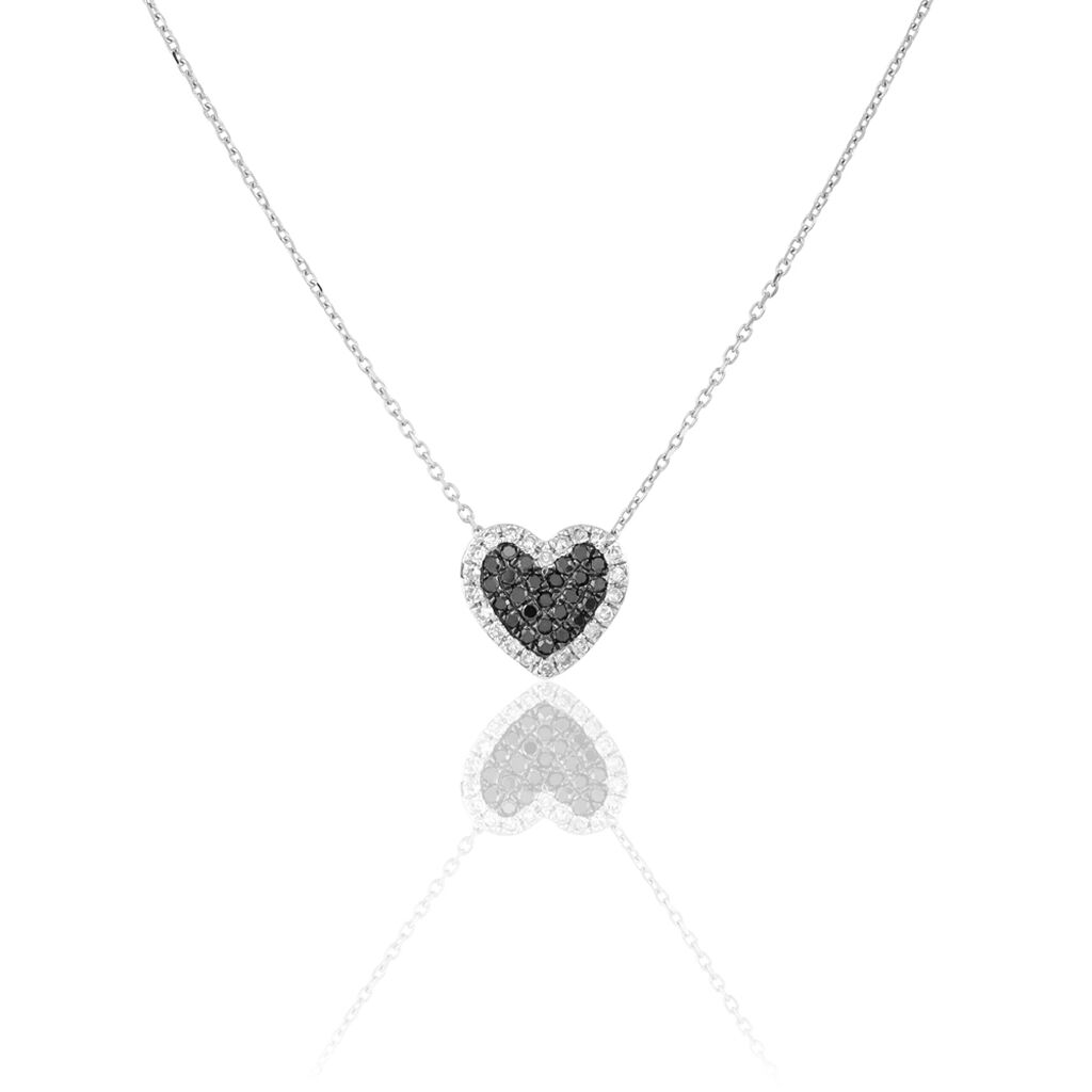 Collier Heimana Or Blanc Diamant - Colliers Coeur Femme | Histoire d'Or