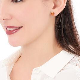 Boucles D'oreilles Puces Nida Argent Blanc Ambre - Boucles d'Oreilles Coeur Femme   Histoire d'Or