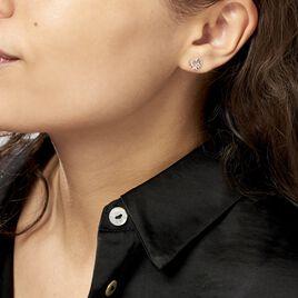 Boucles D'oreilles Puces Daria Double Coeurs Or Blanc Oxyde - Boucles d'Oreilles Coeur Femme | Histoire d'Or