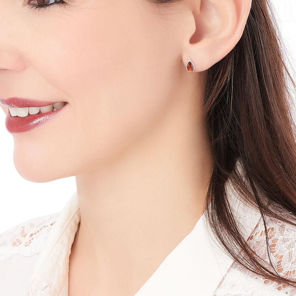 Boucles D'oreilles Puces Junie Argent Blanc Ambre - Boucles d'oreilles fantaisie Femme   Histoire d'Or