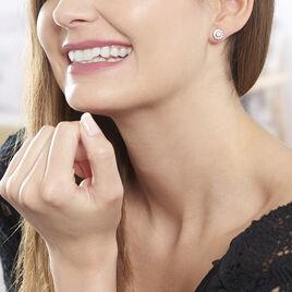 Boucles D'oreilles Puces Emyla Or Rose Oxyde De Zirconium - Clous d'oreilles Femme | Histoire d'Or