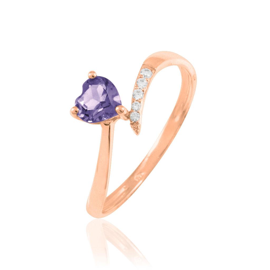 Bague Eva Or Rose Amethyste Et Diamant - Bagues Coeur Femme | Histoire d'Or