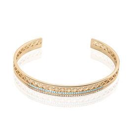 Bracelet Jonc Zoila Plaque Or Pierre De Synthese Et Oxyde - Bracelets joncs Femme | Histoire d'Or