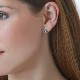 Boucles D'oreilles Puces Or Jaune Saphir Et Diamant - Clous d'oreilles Femme | Histoire d'Or