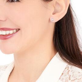 Boucles D'oreilles Puces Ouassima Or Blanc Diamant - Clous d'oreilles Femme | Histoire d'Or