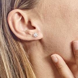 Boucles D'oreilles Puces Maelane Or Blanc Oxyde De Zirconium - Clous d'oreilles Femme   Histoire d'Or