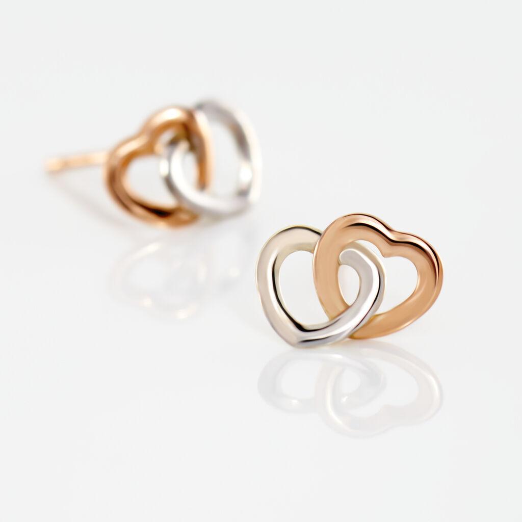 Boucles D'oreilles Puces Donna Coeurs Ajoures Or Rose - Boucles d'Oreilles Coeur Femme   Histoire d'Or