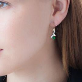 Boucles D'oreilles Pendantes Dyanah Plaque Or Pierre Et Oxyde - Boucles d'oreilles fantaisie Femme | Histoire d'Or