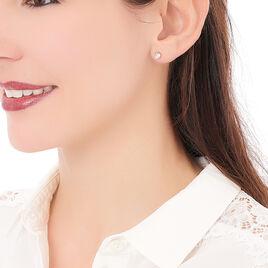 Boucles D'oreilles Puces Yléna Plaque Or Jaune Oxyde De Zirconium - Boucles d'oreilles fantaisie Femme | Histoire d'Or
