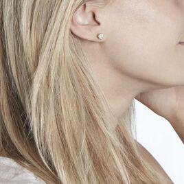 Boucles D'oreilles Puces Charlene Or Jaune Diamant Synthetique - Clous d'oreilles Femme | Histoire d'Or