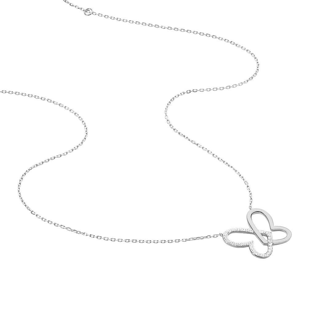 Collier Delphe Argent Blanc Oxyde De Zirconium - Colliers Papillon Femme | Histoire d'Or