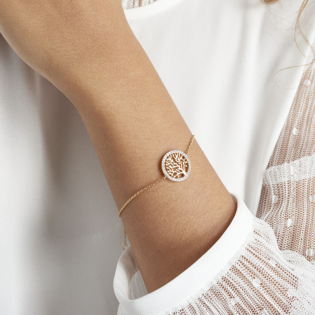 Bracelet Theolina Plaque Or Jaune Oxyde De Zirconium - Bracelets Arbre de vie Femme   Histoire d'Or