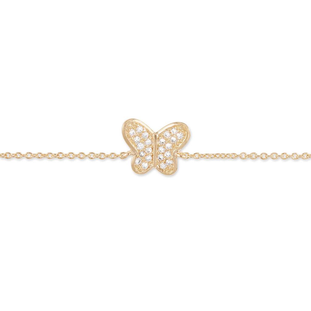 Bracelet Cornelia Plaque Or Jaune Oxyde De Zirconium - Bracelets Papillon Femme | Histoire d'Or