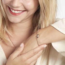 Bracelet Disney Acier Doré Rose Cristaux - Bracelets fantaisie Femme   Histoire d'Or