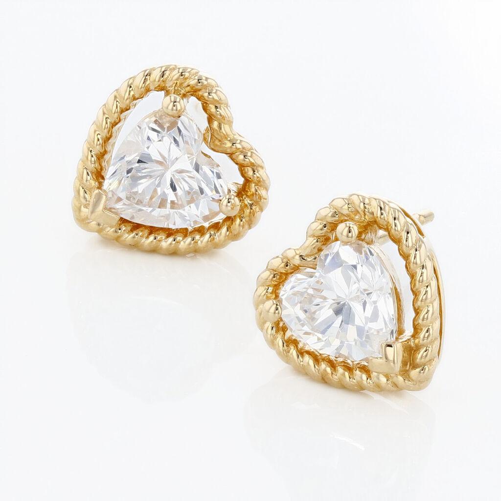 Boucles D'oreilles Pendantes Althea Or Jaune Oxyde De Zirconium - Boucles d'Oreilles Coeur Femme | Histoire d'Or