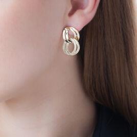 Boucles D'oreilles Puces Luxury Plaque Or Blanc - Boucles d'oreilles fantaisie Femme | Histoire d'Or